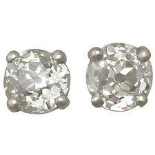 diamond stud earrings sale antique and contemporary 0 57 carat diamond and platinum stud
