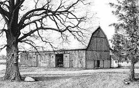 line drawing of barn and on the large oak tree from the elwer