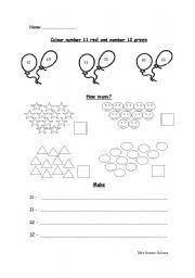 english worksheets recognising number 11 and 12