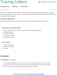 tracing letters lesson plan education com