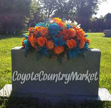 custom order for sandra miami dolphin colors headstone saddle