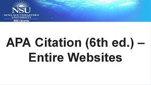 apa citation 6th ed u2013 entire websites