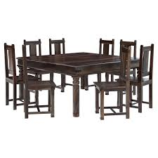 rustic solid wood large square dining room table chair set