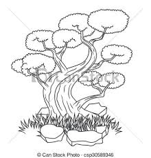 beautiful bonsai tree tattoo vector illustration of eps vector