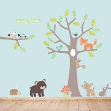 pastel forest friends wall stickers by parkins interiors blue theme