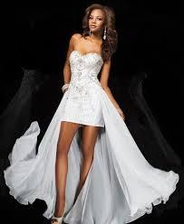 16 high low hem short front long back white chiffon beaded prom dress