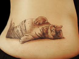 grey ink tiger on lowerback
