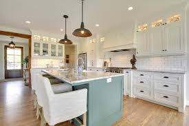 Blue Kitchens With White Cabinets White Kitchen With Blue Island Cottage Kitchen
