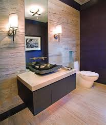 modern powder room design with mirror plus double side lights