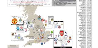A Map Of England by England Attendance Map Of All Football Clubs That Drew Over 4 000