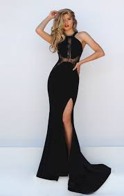 illusion neck open v back sleeveless sheer black long prom