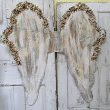 angel wings wall decor white gold with brown distressing shabby