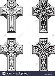 a variety of black and white celtic cross designs stock vector