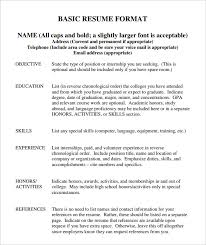 Sample Resume Format Resume Template by Basic Resume Template U2013 51 Free Samples Examples Format