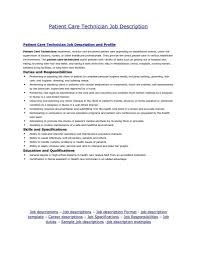 Resume Job Responsibilities Examples by Patient Care Technician Sample Resume