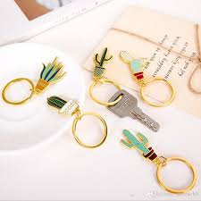cute key rings images Potted plant cactus keychain keyring cute gold color key rings jpg