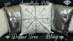 Home Decor Tree Diy Dollar Tree Winter Bling Snowflake No Sew Pillow Glam Home