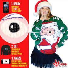 christmas sweater peeking santa knitted christmas sweater morph costumes us