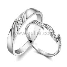 silver wedding rings engravable cz synthetic diamond sterling silver engagement rings