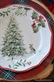 table with tartan greenery and fitz and floyd bunnies