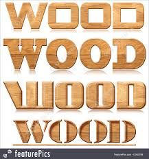 illustration of four words wood in wood carving
