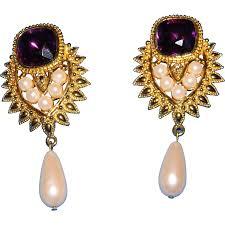 pearl clip on earrings elizabeth for avon jhaveri amethyst pearl drop clip on