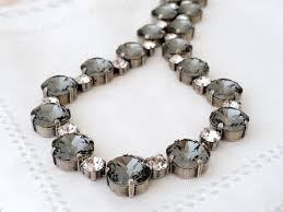 big crystal statement necklace images Grey and clear white diamond swarovski crystal necklace bridal jpg