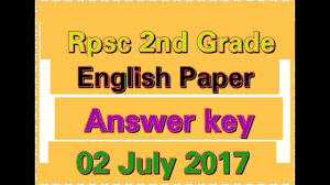 answer key rpsc 2nd grade english answer key 2 july 2017 youtube
