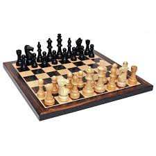 staunton chess set u2013 weighted pieces u0026 black stained wooden board