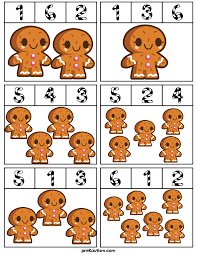 gingerbread man counting clip cards activities for toddlers with