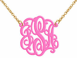 acrylic monogram necklace monogram acrylic necklace hot pink on luulla