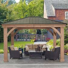 Retractable Awnings Costco Yardistry 14ft X 12ft 4 3 X 3 7m Wood Pergola Costco Uk