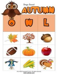 autumn owl bingo 3x3 w flashcards and letters by esl kidz tpt
