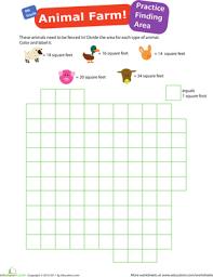 practice finding area 1 animal farm worksheet education com