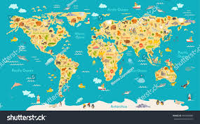 Antarctica World Map by Animal Map Kid World Vector Poster Stock Vector 499954888