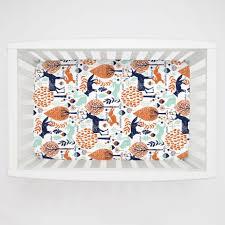 Rocking Mini Crib by Navy And Orange Woodland Animals Mini Crib Sheet Carousel Designs