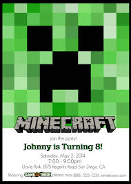 Custom Made Invitation Cards Make Your Own Custom Printable Minecraft Party Invitations