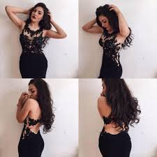 formal dress black lace prom dress mermaid round neck lace long