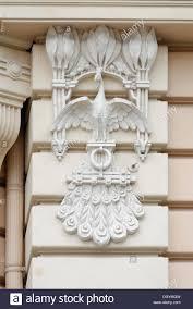 detail view of an nouveau building ornaments bird alberta