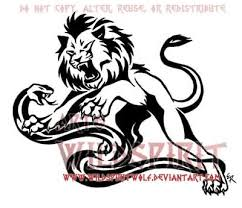 black tribal snake with lion tattoo design by wildspiritdesigns