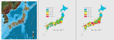 World Map 1950 A Map Of The Topography And Population Density Of Japan In 1950