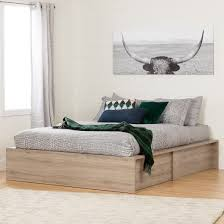Ottoman Storage Bed Fusion Ottoman Storage Bed Queen Rustic Oak South Shore Target