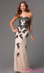 image of strapless lace gown with corset top style dq 8856 front