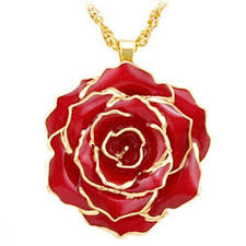 gold red rose necklace images Gold rose 24k gold dipped rose pendant necklaces made of fresh jpg