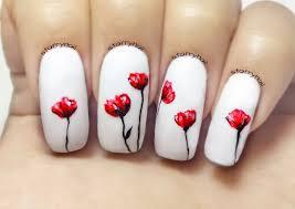 freehand cloud design nail art tutorial poppies freehand nail art tutorial starrynail