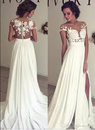 chiffon wedding dress discount 2018 bohemian chiffon wedding dresses cheap sheer crew