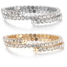 crystal rhinestone cuff bracelet images Cubic zirconia crystals rhinestone cuff bracelet women 39 s 2 rows jpg