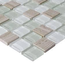 Stone Glass Tile Backsplash by Stone U0026 Glass Blend Mosaic Wall Tiles Marble Tile Flooring Sg126