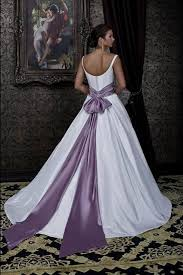 white wedding dress with purple bow naf dresses