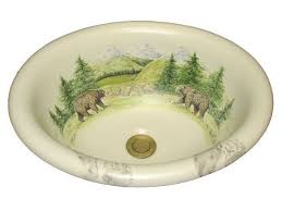 marzi oval drop in sink bear tracks design artisan crafted home